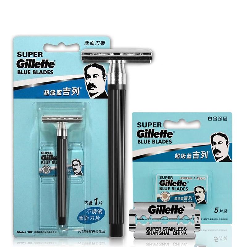 Gillette Super Blue Men Shaving Razors 1 Holder with 1 Blade +5 Blades Official Authentic Shavors Safety Razors