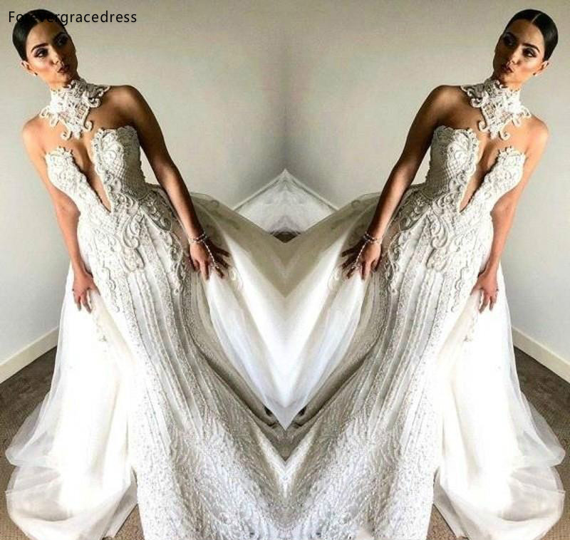 Garden Wedding Gowns: Luxury Mermaid Sleeveless Wedding Dresses 2019 South