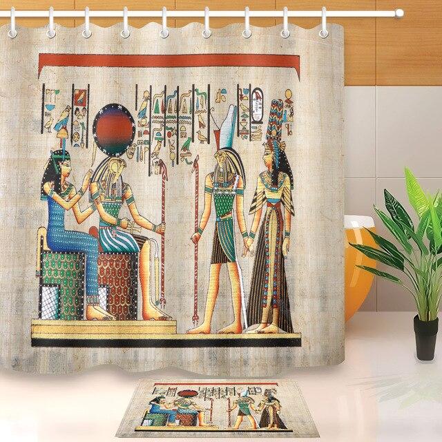 LB Art Ancient Egyptian Myths Mural Pharaoh Wall Exotic Shower Curtain Set Liner Horus Anubis Bathroom Fabric For Bathtub Decor
