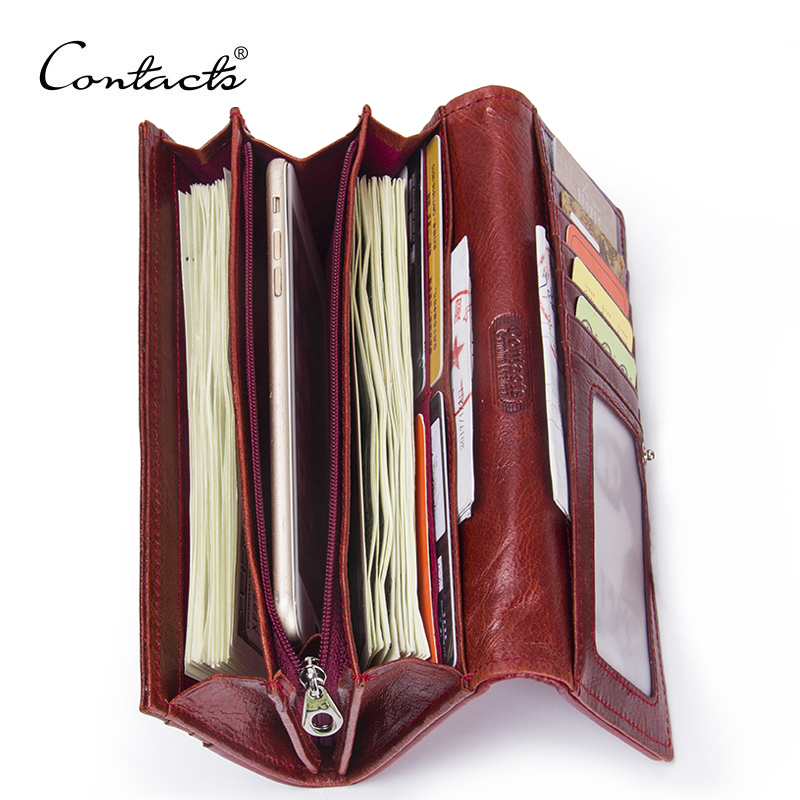 CONTACT'S Genuine Leather Women Wallets Lady Purse Long Alligator Wallet Elegant Fashion Female Women Clutch With Card Holder simline fashion genuine leather real cowhide women lady short slim wallet wallets purse card holder zipper coin pocket ladies