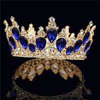 Gorgeous Drop Crystal Gold Tiara Crown for Queen King Round Diadem Bride Headdress Prom Wedding Hair Jewelry Head Ornaments