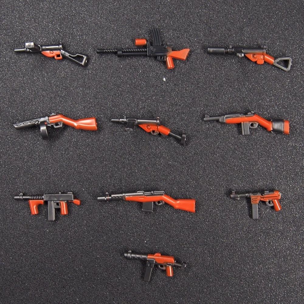 10pcs DIY Weapon Pack Military WW2 World War GUN Building Blocks Brick Children Toys