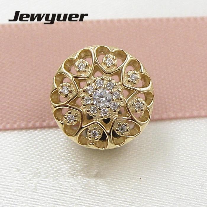 Coeur de charmes D'or 14 k solide or amour perles Fit 925 sterling argent bracelets DIY pour les femmes cadeau De Noël memnon GD085