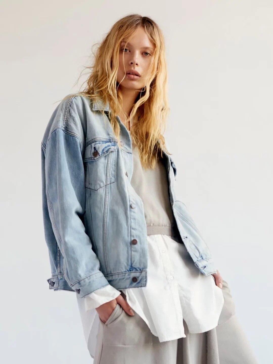 Bleu Effiloché Boho Denim Automne Lavé Mode Trou Manteaux De Nouvelles Vestes Vêtements 2018 Rue Lâche Cru Femmes cyWOayq7