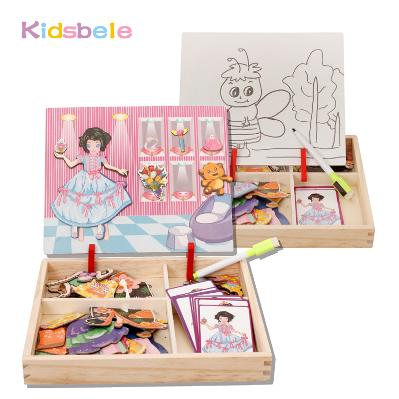 Puzzle Toys For Children Magnetic Board Girl Dress Up Wooden Montessori Jigsaw Kids Toy Early Learning Educational Draw Juguetes цена