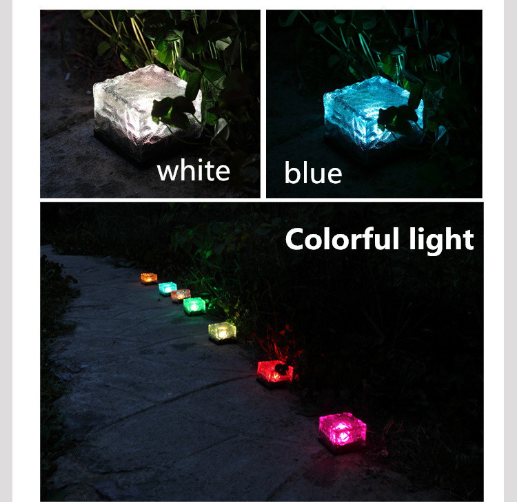 Outdoor Solar Light LED Ground Crystal Glass Ice Brick Shape Waterproof Solar  Lamp Garden Decoration Underground RGB Lights