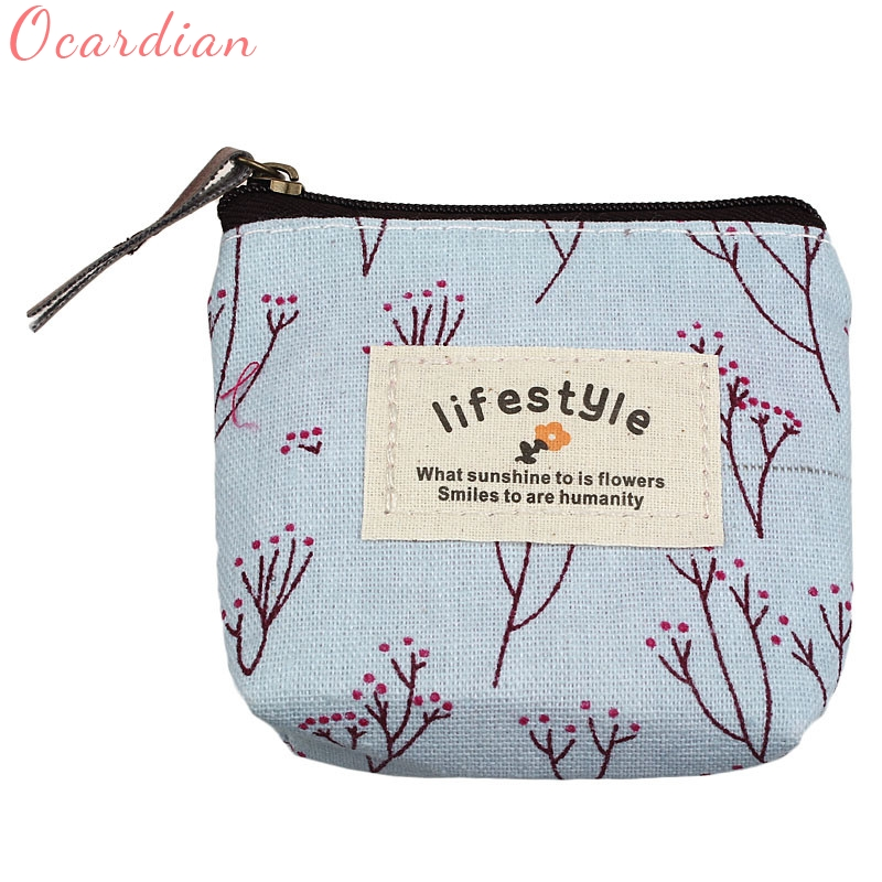 Ocardian Hot Sale Small Canvas Purse Zip Wallet Lady Coin Case Bag Handbag Key Holder Coin Purses wholesale DE12 ##