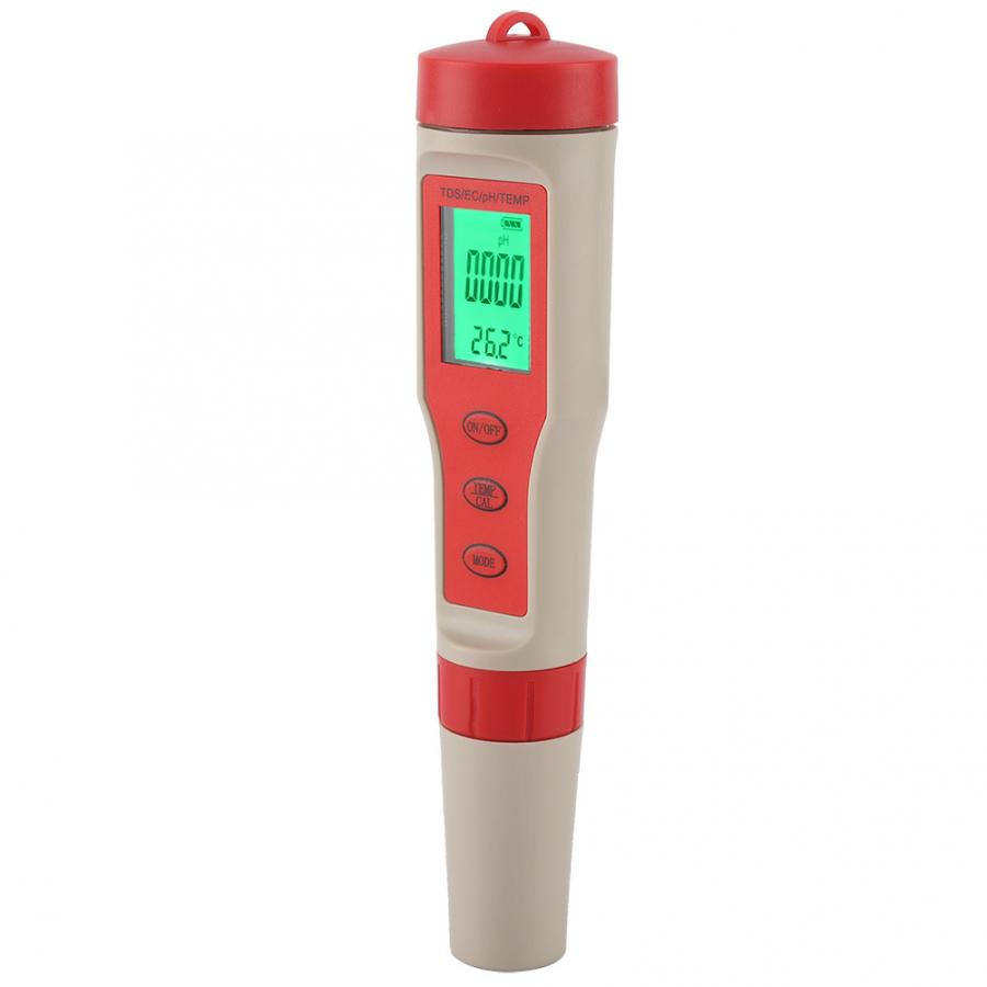Water Quality Test For Fish Aquarium Accessories 4 In 1 Portable Digital TDS PH EC TEMP Meter Water Quality Tester