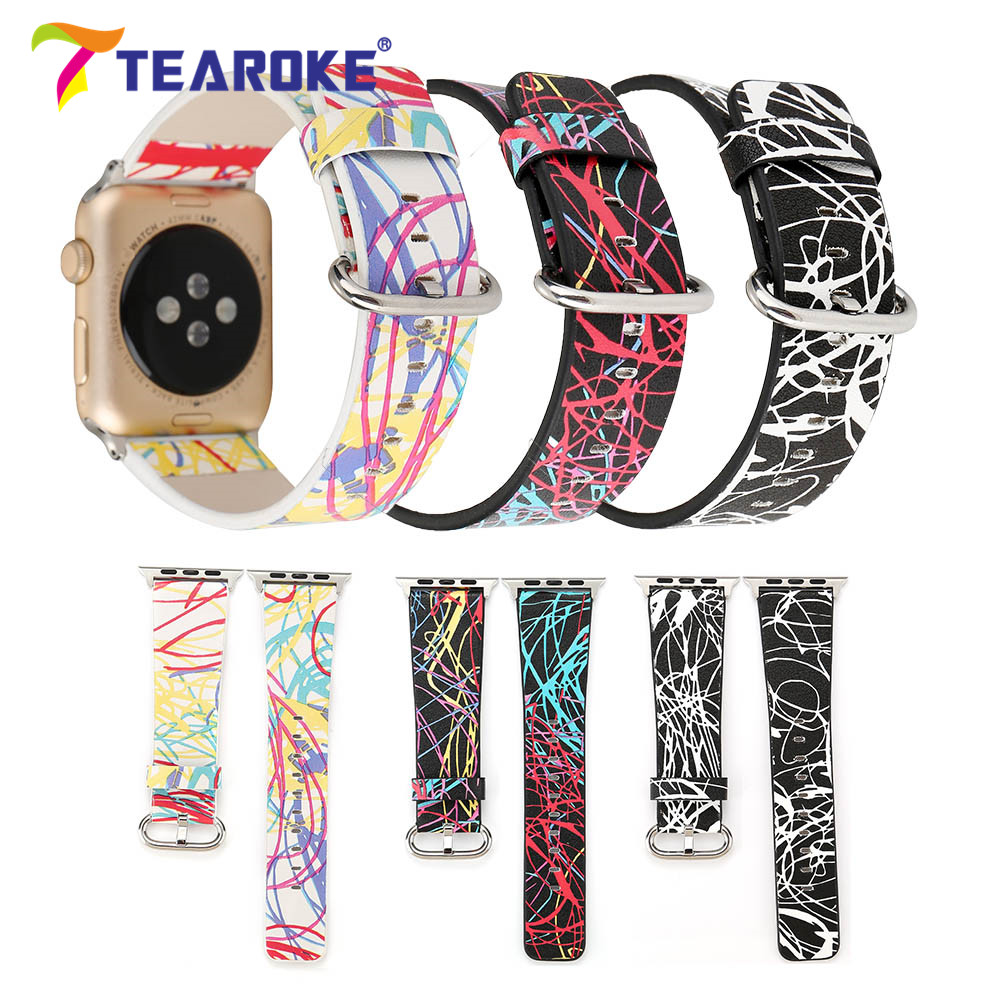 Funny Graffiti Painting Leather Watchband For Apple Watch 38mm 42mm Women Men Replacement Bracelet Strap Band for iwatch 1 2 3 eache 38mm 42mm dark brown replacement watch straps fit for apple watch vegetable tanned leather watch band for women or man