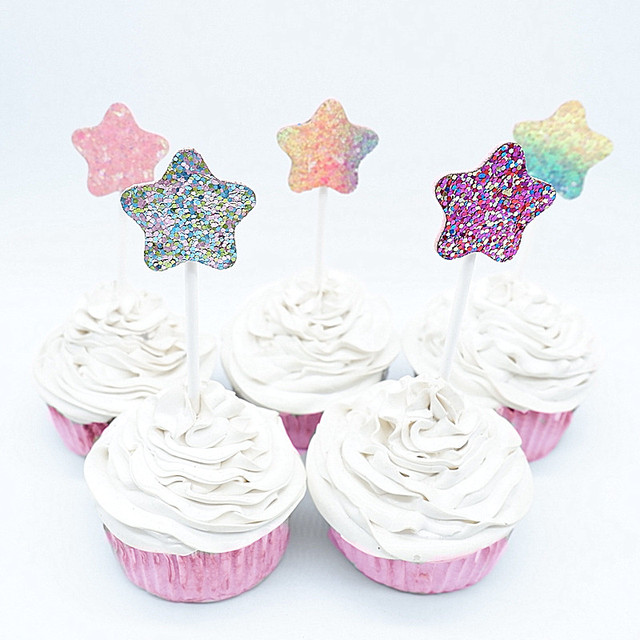5pc Multi Color Star Cupcake Toppers Glitter Happy Birthday Cake Topper Flags Decor Banner Card Baking DIY Accessory