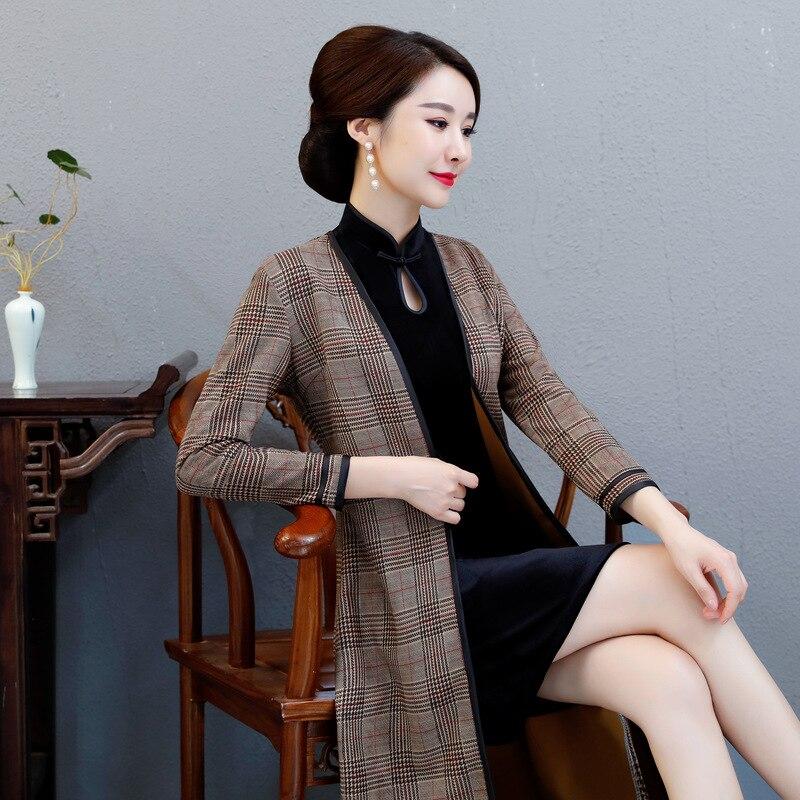 Qipao Traditionnel Genou 1 Femmes Suede longueur Vintage Robe Sexy Xl 2 Taille Xxl 3xl Plaid L Cheongsam 4xl Plus Chinois Nouveau Classique TF3Ju5Kcl1