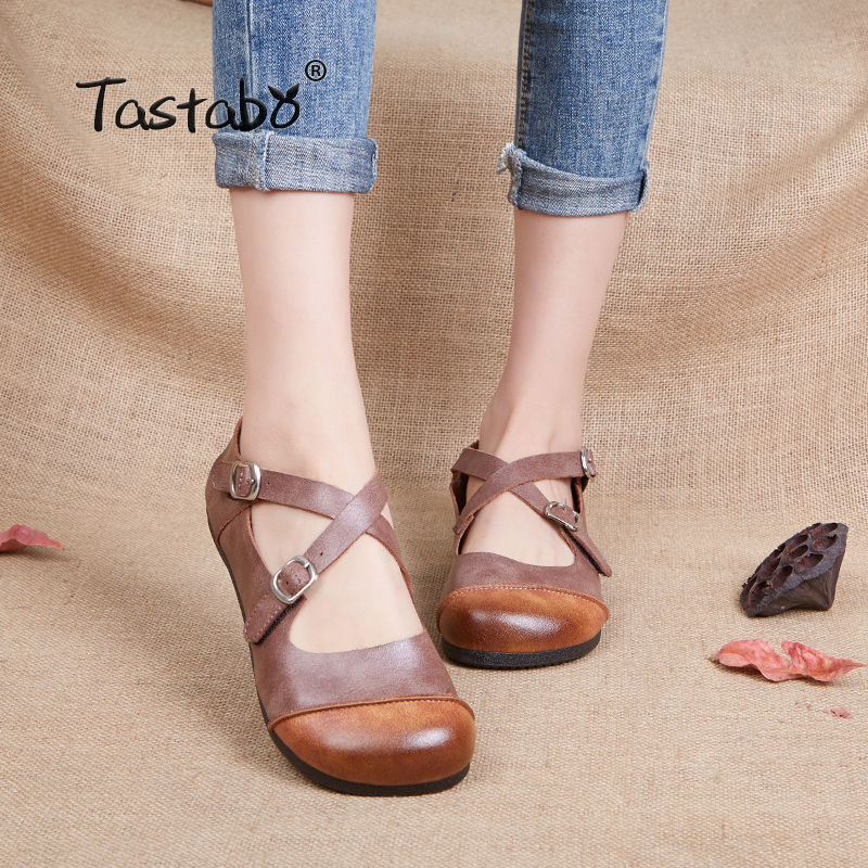 Tastabo Genuine Leather Flat Shoe Mother Driving Shoe Female Moccasins Fashion Women Flats Hand Sewing Shoes