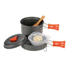 1 2 Person Camping Cookware Outdoor Tableware Set Utensils Travel Hiking Picnic Cooking Set Portable Camping Tableware Pot Pan yingtouman camping cookware outdoor cookware set camping tableware cooking set travel tableware pot pan set outdoor tableware