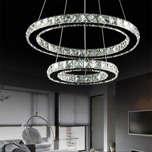 Diamant 2 anneaux led lustre suspendu lampara moderne for Lustre suspendu moderne