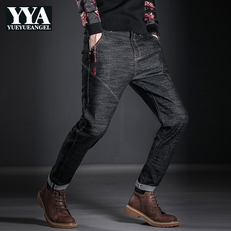 Men Full Length Black Jeans Casual Streetwear Loose Fit Hip Hop Cowboy Denim Pants Male Zip Spring New Trousers Large Size 28-38