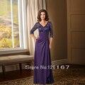 Purple V-neck Chiffon Evening Dresses 2017 Mother Of The bride Dresses Half Sleeve Floor-Length Evening dress for woman CGM012