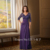 Roxo Com Decote Em V de Chiffon Vestidos de Noite 2017 a Mãe Da noiva Vestidos Metade da Luva do Assoalho-Comprimento vestido de Noite para a mulher CGM012