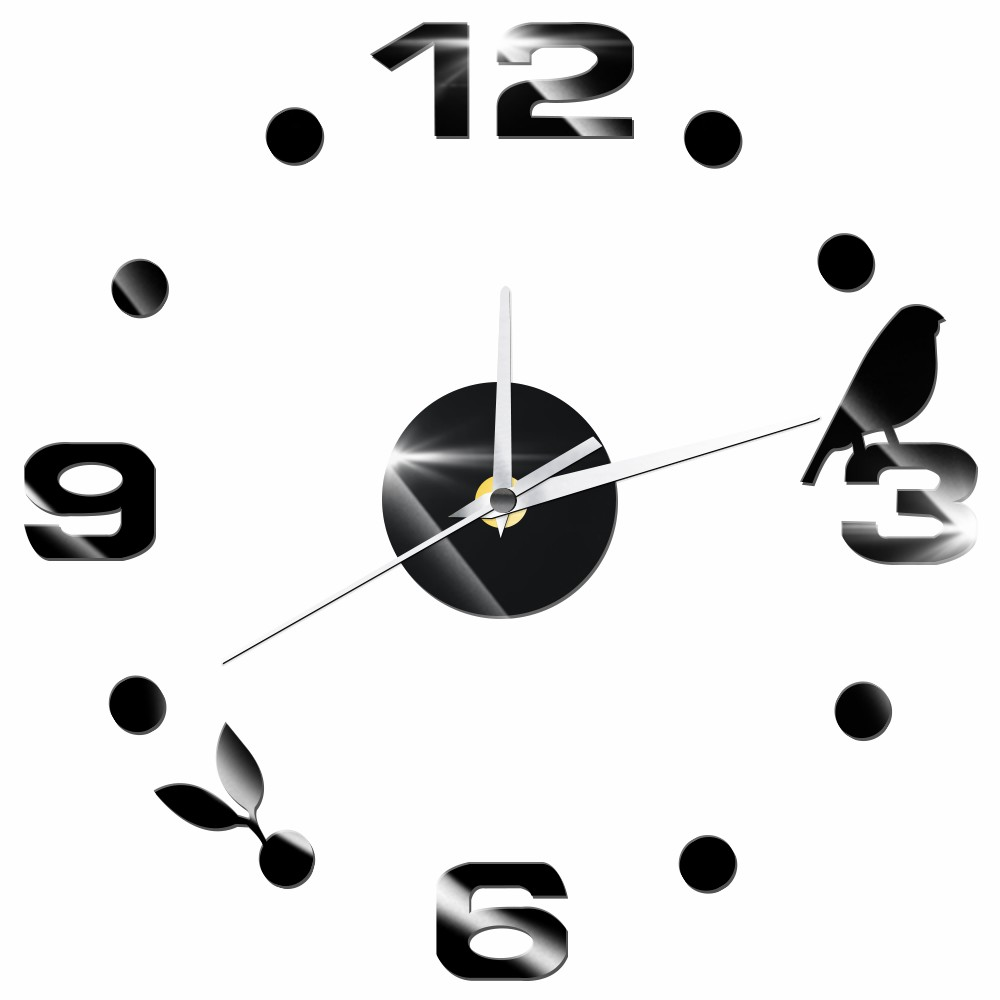 Digital Number DIY Wall Clock Quartz Mute Decorative Clock Kitchen Home Decor Self-adhesive Acrylic Wall Sticker Birds