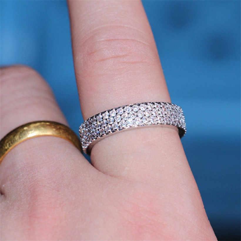 לוקסוס 10 K זהב לבן מצופה 3 שורות פייב הגדרת סימולציה יהלומי אבן טבעת נשים אלגנטיות חתונה להקת טבעת תכשיטים