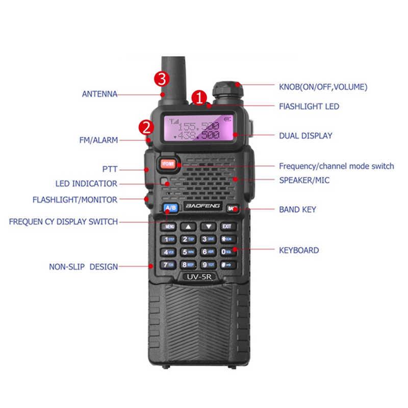 2 قطعة Baofeng UV-5R 3800 مللي أمبير طويلة المدى اسلكية تخاطب 10 كجم ثنائي النطاق UHF & VHF UV5R هام Hf جهاز الإرسال والاستقبال المحمولة UV 5R راديو محطة