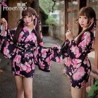 Japanese printed Cherry Blossom cat kimono uniform Haori bathrobe Sexy underwear COSPLAY high quality clothes coat sunscreen