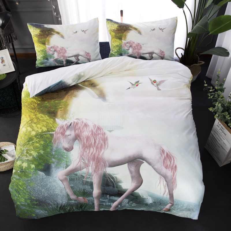 Unicórnio conjunto de cama gêmeo completa rainha rei au super tamanho do rei animal capa edredão fronhas natureza linho conjunto 3pcs