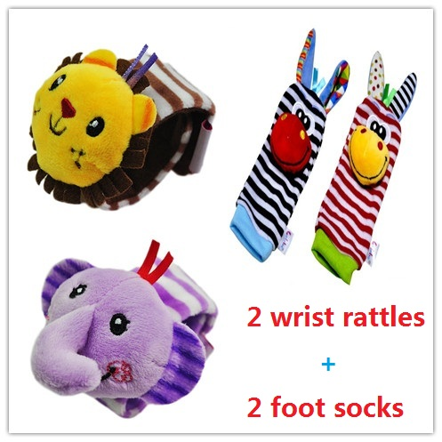 Baby Toys 0-12 Mont Cartoon Animal Wrist Rattle+Foot Watch Band Wrist Strap Belt Socks For Newborn Baby's Rattles Ringbaby Toy
