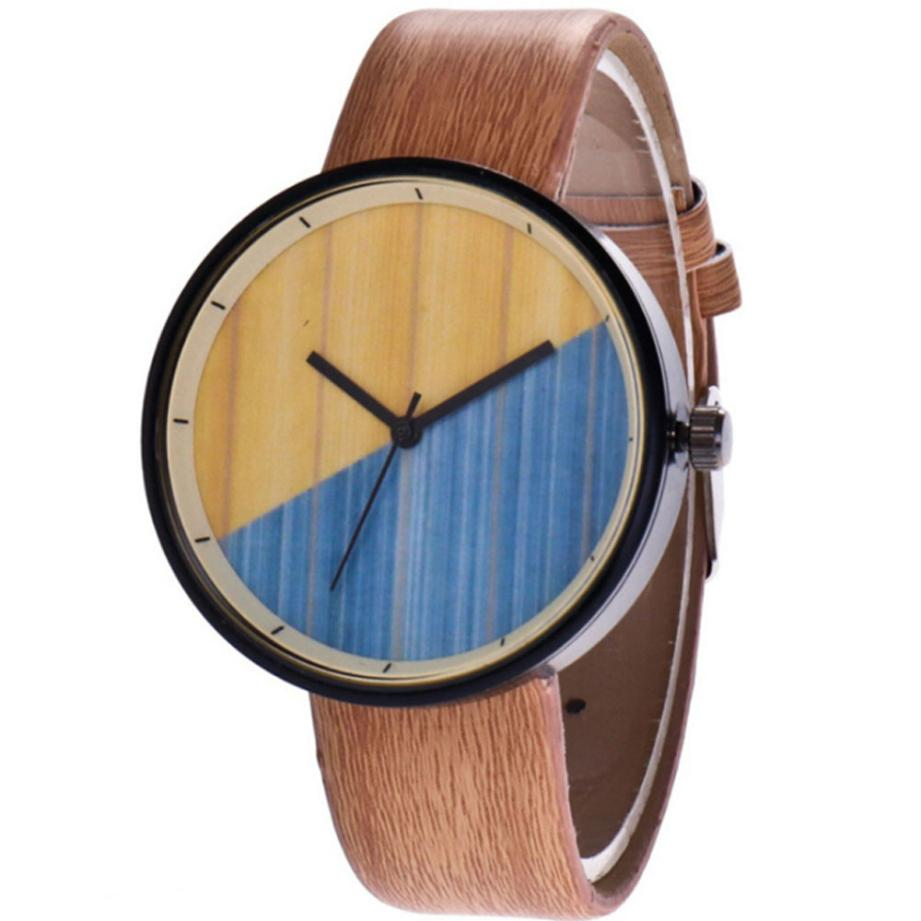 Creative Wood Grain Watch Women Fashion Leather Band Analog Wrist Watches Unisex Mens Casual Military Clock Quartz Watch #LH fashion split leather band quartz analog bracelet wrist watch for women black 1 x 377