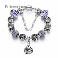 Flower Plant Charm Bracelet For Women Purple Crystal Bracelets Bangles For Diy Tibetan Silver Jewelry PA1879