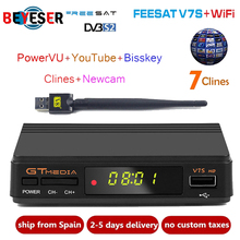 Hot sale Satellite TV Receiver Gtmedia V7S HD Receptor with 1 year Europe Cline for Spain DVB-S2 Satellite Decoder Freesat V7 HD
