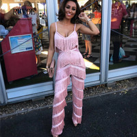 New Pink Rompers Womens Jumpsuit Tassel Sexy Straps solid Jumpsuit Playsuit Long Deep V Neck Club Wear Overalls for women TB 011