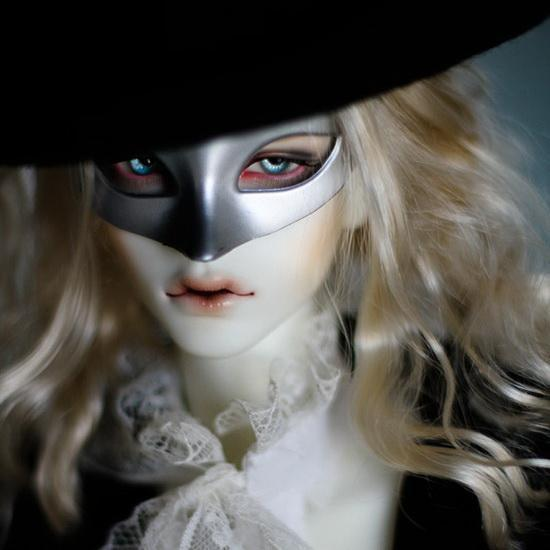 Fur Mask For 1//3 SD17 SD DZ DOD AOD BJD Dollfie Light Blue Gold Pattern PF