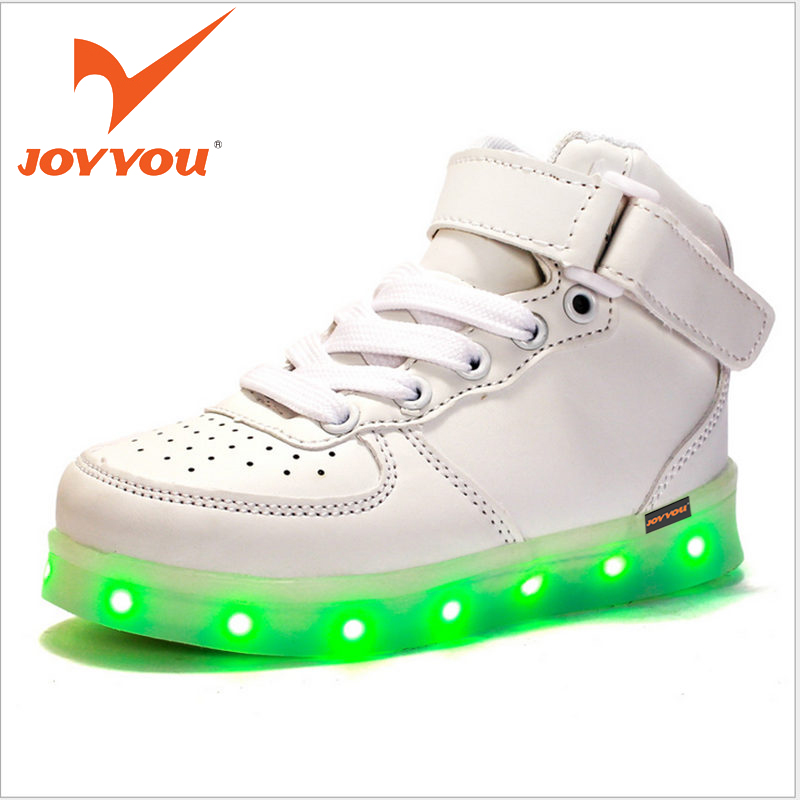 JOYYOU Brand USB Children Boys Girls Glowing Luminous Sneakers With Light Up Led Teenage Kids Shoes illuminate School Footwear 25 40 size usb charging basket led children shoes with light up kids casual boys