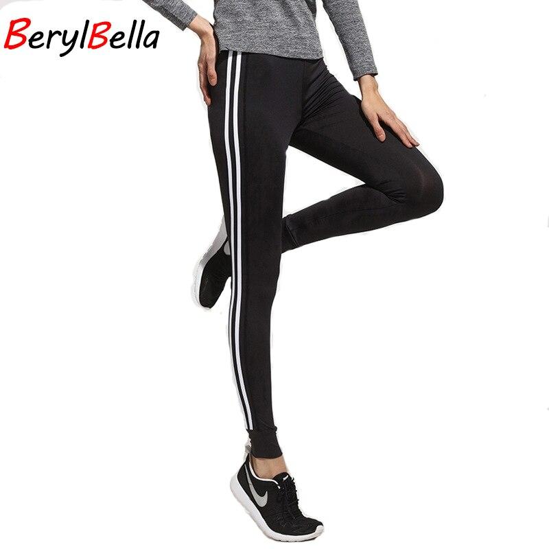 BerylBella Winter Women Leggings Fitness 2018 Work Out Slim Black Striped Skinny Legins Plus Size Female Legging Jeggings Pants