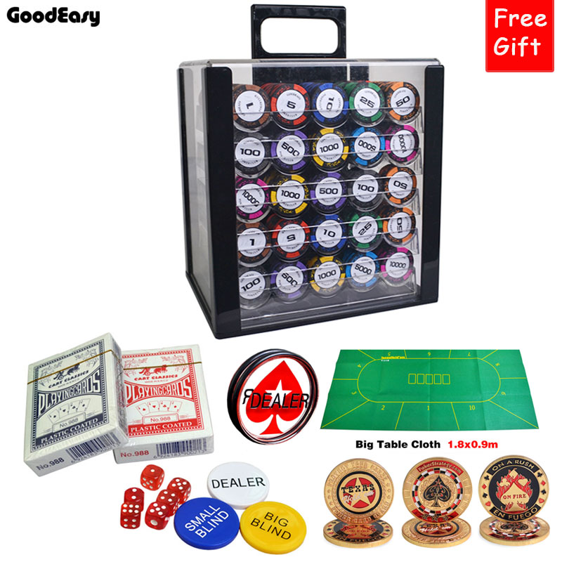 1000pcs/set Only 3 SET Big Promotion Clay Wheat Poker Chips Sets with Acrylic BOX/Tray/Big Table Cloth/Dealer/Dice/Metal Button 600 1000pcs lot new casino texas hold em abs poker chips with star trim sticker baccarat poker chip sets with acrylic box