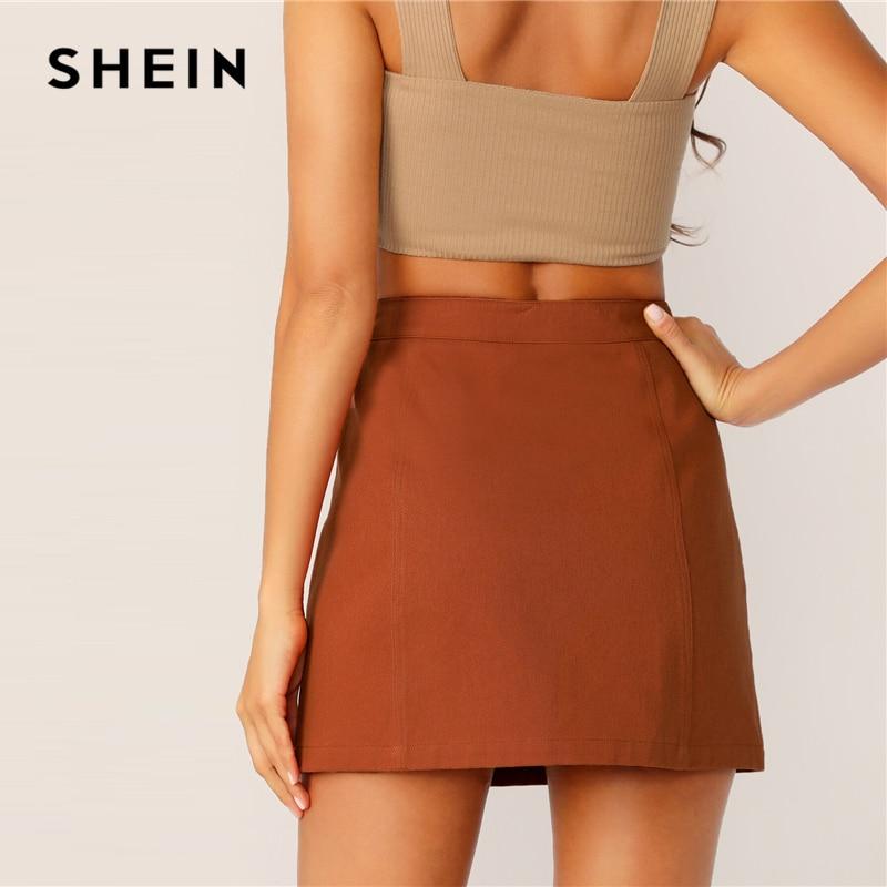 SHEIN Button Front Skirt Korean Style Brown High Waist A Line Skirt 2019 Spring Summer Women Mini Skirt 2