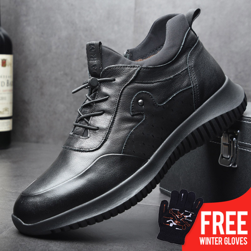 OSCO Winter Boots Men Genuine Leather Fashion Sneakers Casual Shoes Thick-soled Slip-on Men Shoes Plush Warm High Top Shoes