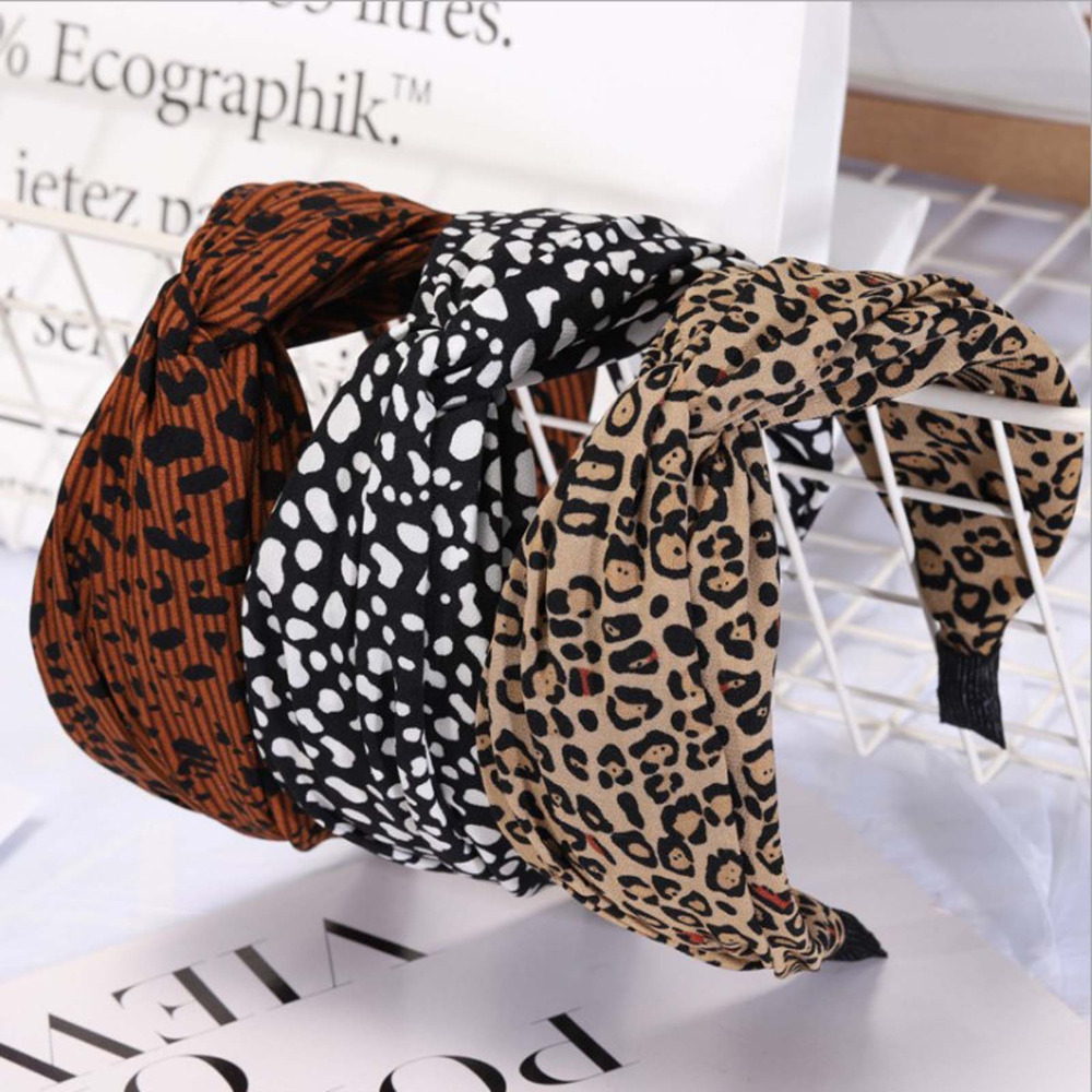 2019 Fashion Leopard Women's Hairband High Elastic Hair Band Wide Side Cross Knot Headband For Adlut Girls Headwear Turban