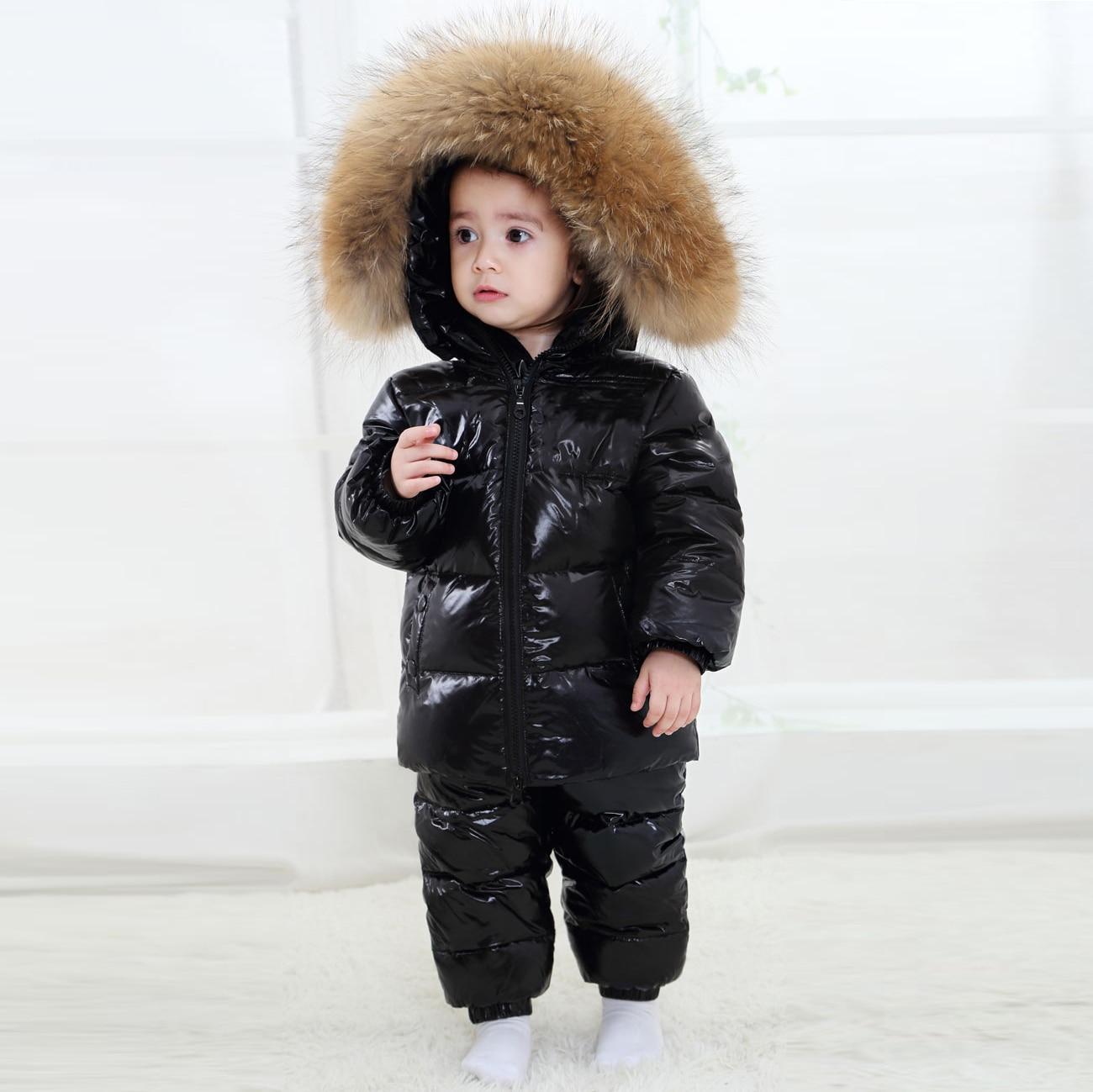 2019 חדש בגדי ילדים סט רוסיה החורף לעבות חליפת שלג 2-6y בני 90% לבן ברווז למטה בגדי בנות חורף תלבושת מעיל