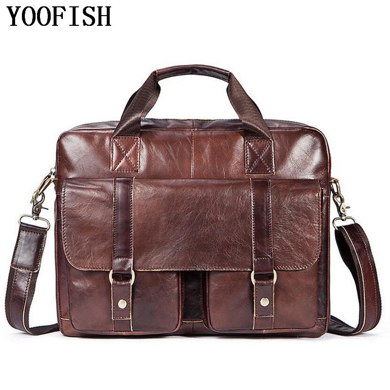 YOOFISH Genuine Leather Men Bag Men Crossbody Bags Men's Casual Travel Shoulder Bags Tote Laptop Briefcases Handbags LJ-0794 contact s genuine leather men bag casual handbags cowhide crossbody bags men s travel bags tote laptop briefcases men bag new
