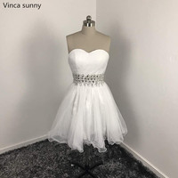 Vinca Sunny 2018 Real Picture Hot Sale Popular White Pleat Tulle Beading Short Prom Dress Prom