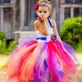 Handmade Flower Girl Dress Fluffy Tulle Tutu Dress for Wedding Photo Birthday Christmas Party Kids Summer Costume TS052