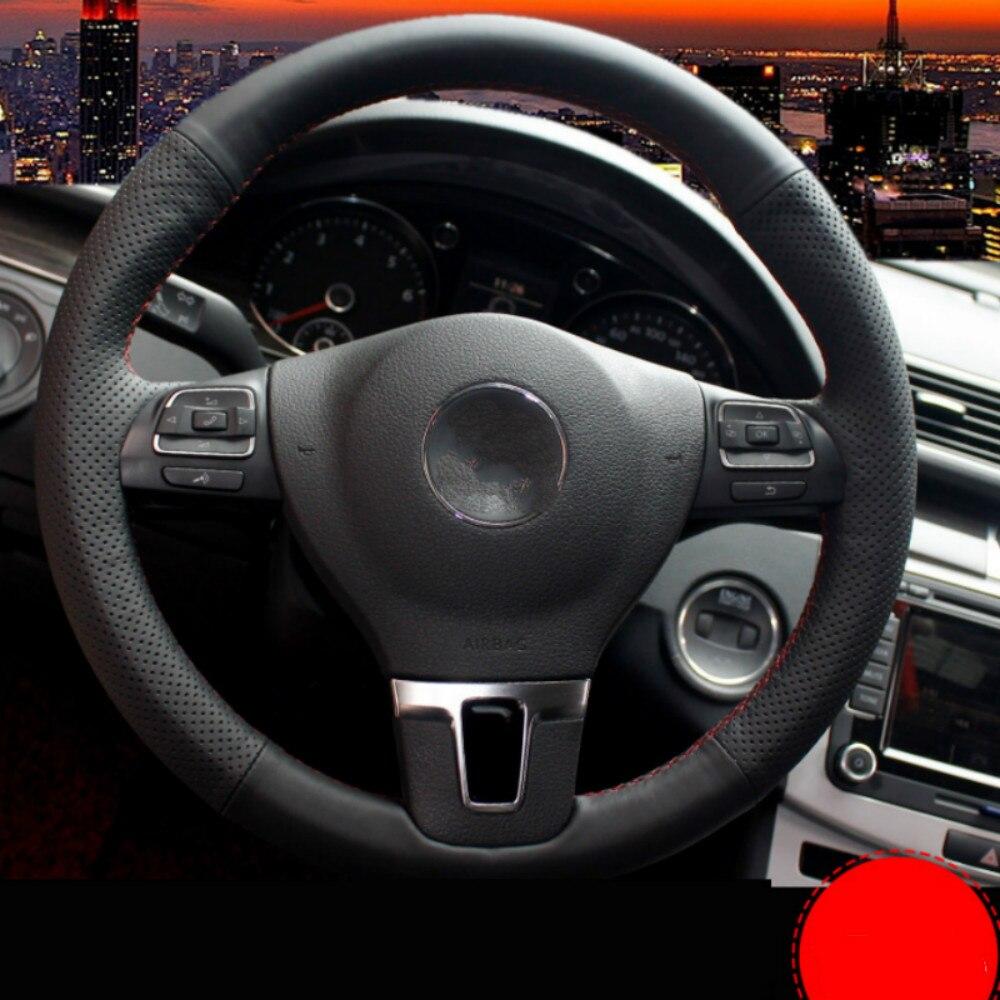 DIY Car Steering Wheel Cover for Volkswagen Tiguan Passat CC Lavida Sagitar Golf 7 POLO Bora Sew Leather Steering Wheel Cover