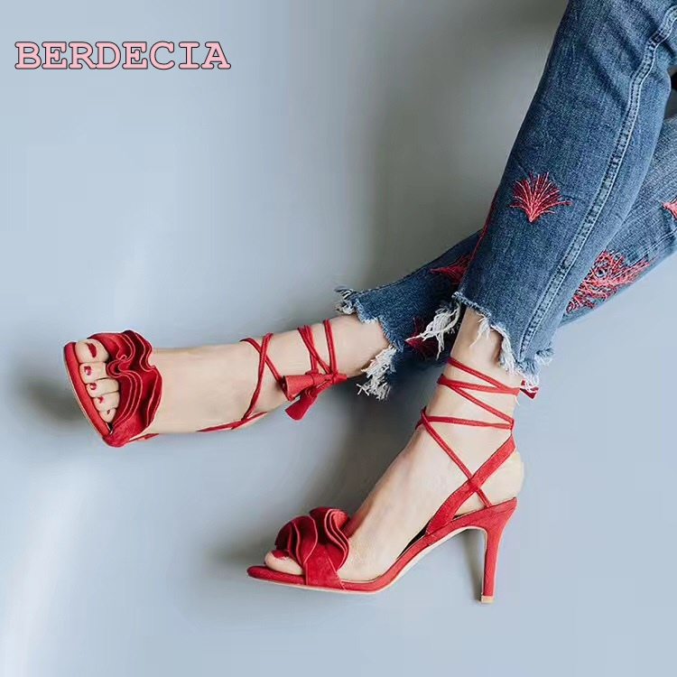 Freeshippng  Sweet red ladies Ruffles open toe sandals lace up high quality shoes women sexy party date high stiletto heel shoes summer 2017 sexy women black blue cross lace up open toe zip back stiletto heels high heel party sandals shoes lady