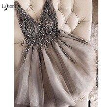 스파클 크리스탈 페르시 짧은 칵테일 드레스 그레이 홈 커밍 드레스 더블 v 넥 섹시한 반짝 이는 미니 댄스 파티 가운 abiye vestidos