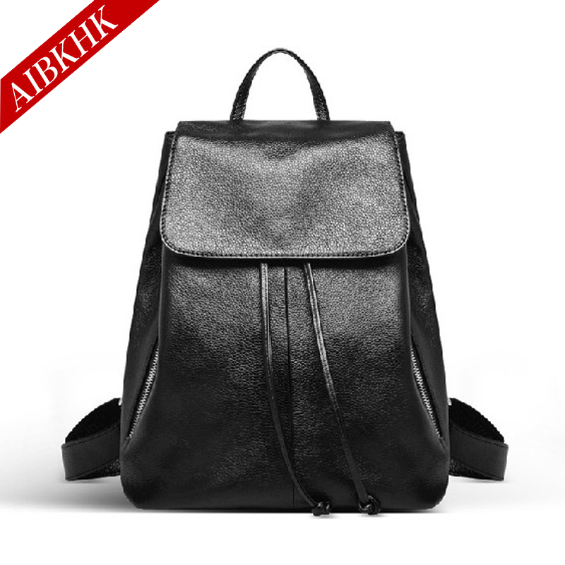 2017 New Fashion Genuine Leather Women Backpacks High Quality Female Real Natural Leather Ladies Girl Student Casual Backpack