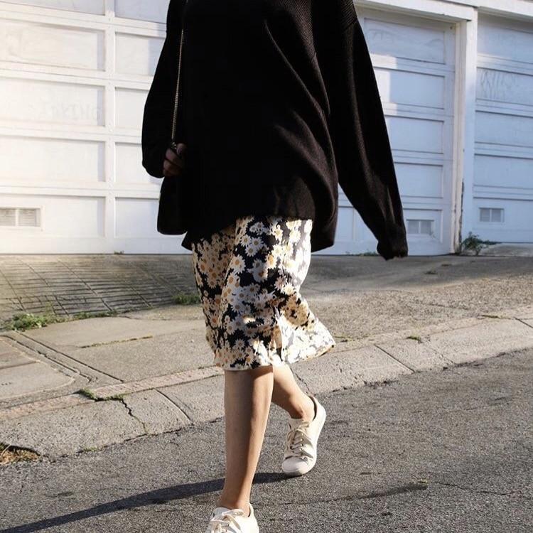 4 Slip Taille 3 Bande Satin Imprimé Longueur Jupe Élastique Femme Floral Daisy 0908255 2018 De Mode Multi 100Soie qUSVzMp