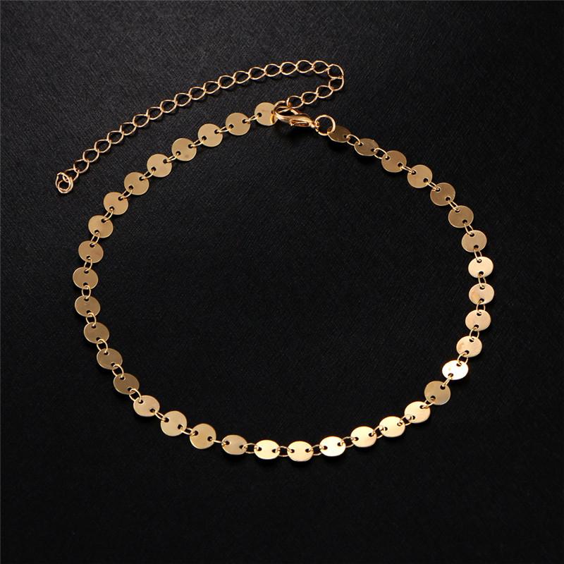 MISANANRYNE Simple Women/Men Bangle Gold Color personality retro alloy round Flat sequins Link Chain Bracelet Pulseira 5