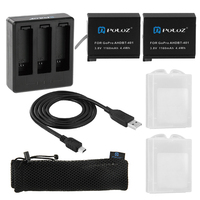 7 in 1 Charger Kit 2 STKS 1160 mAh Batterijen + 3 kanaals LCD Dual USB Charger Action Camera accessoires voor GoPro Hero 4