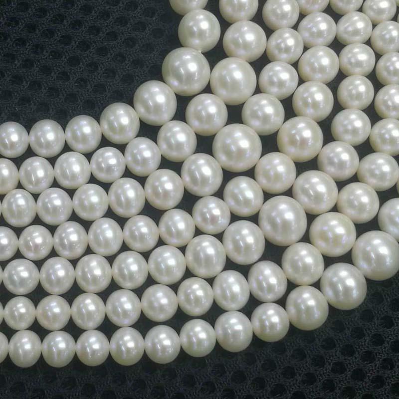 Superbe vente en gros de 3mm à 9mm près de la vraie perle naturelle blanche ronde 16 pouces